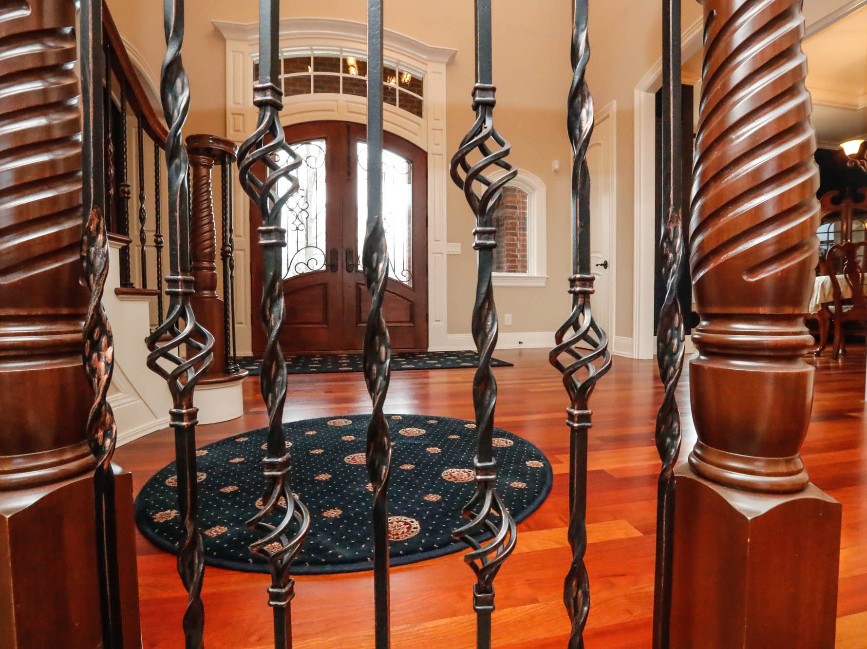 A  $2m home with elements of French country and Tuscan influence features a Brazilian cherry floor and large entryway with grand staircase, up for sale in Bargersville Ind. on Wednesday, Jan. 9, 2019. The home sits on 8.1 acres.