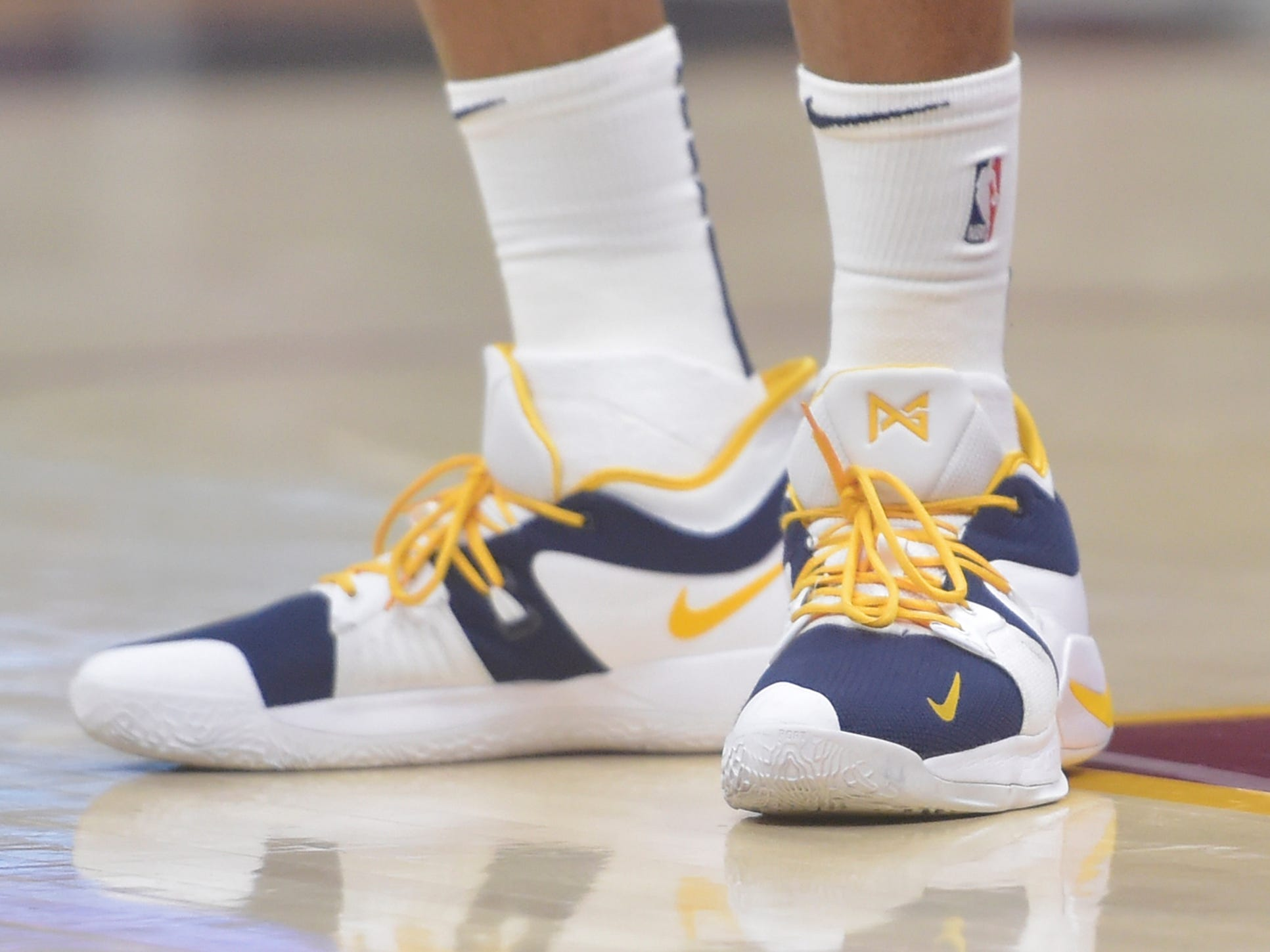 Jan 8, 2019; Cleveland, OH, USA; General view of the shoes worn by Indiana Pacers forward Thaddeus Young (21) during a game against the Cleveland Cavaliers at Quicken Loans Arena. Mandatory Credit: David Richard-USA TODAY Sports