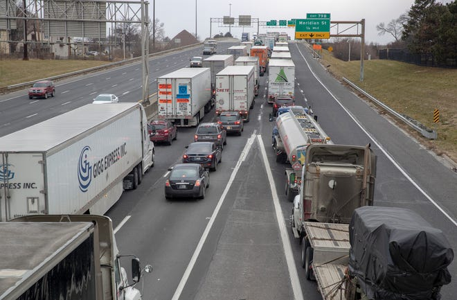 Backed-up traffic following a morning wreck on I-70 westbound, near McCarty and Illinois, Indianapolis, Wednesday, Jan. 9, 2019. The ten vehicle crash happened at about 8:45 am, and took at least two hours to clear.