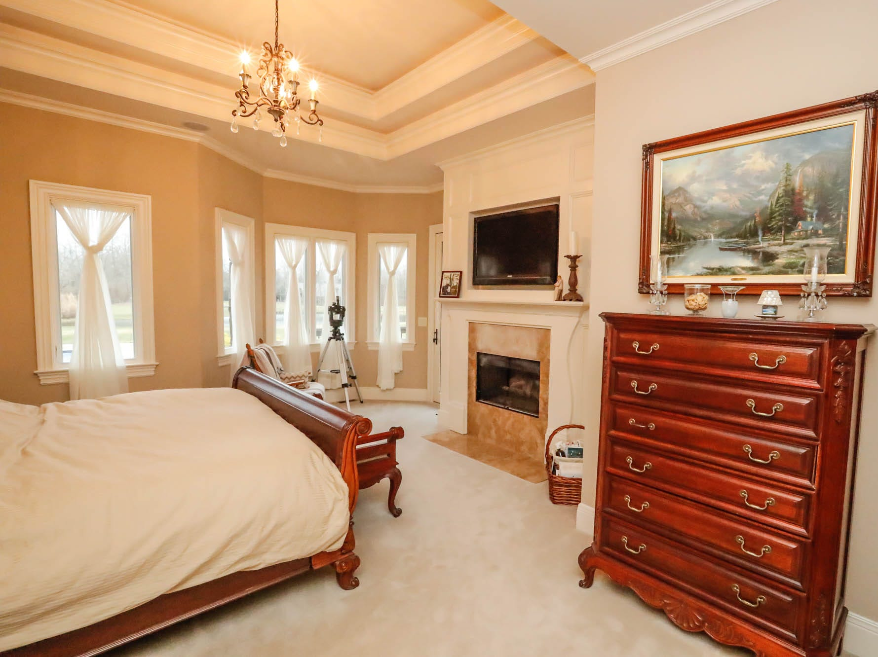 The master suite features a fireplace, large walk-in closet, and master bath in a traditional $2m home up for sale in Bargersville Ind. on Wednesday, Jan. 9, 2019. The house sits on 8.1 acres.