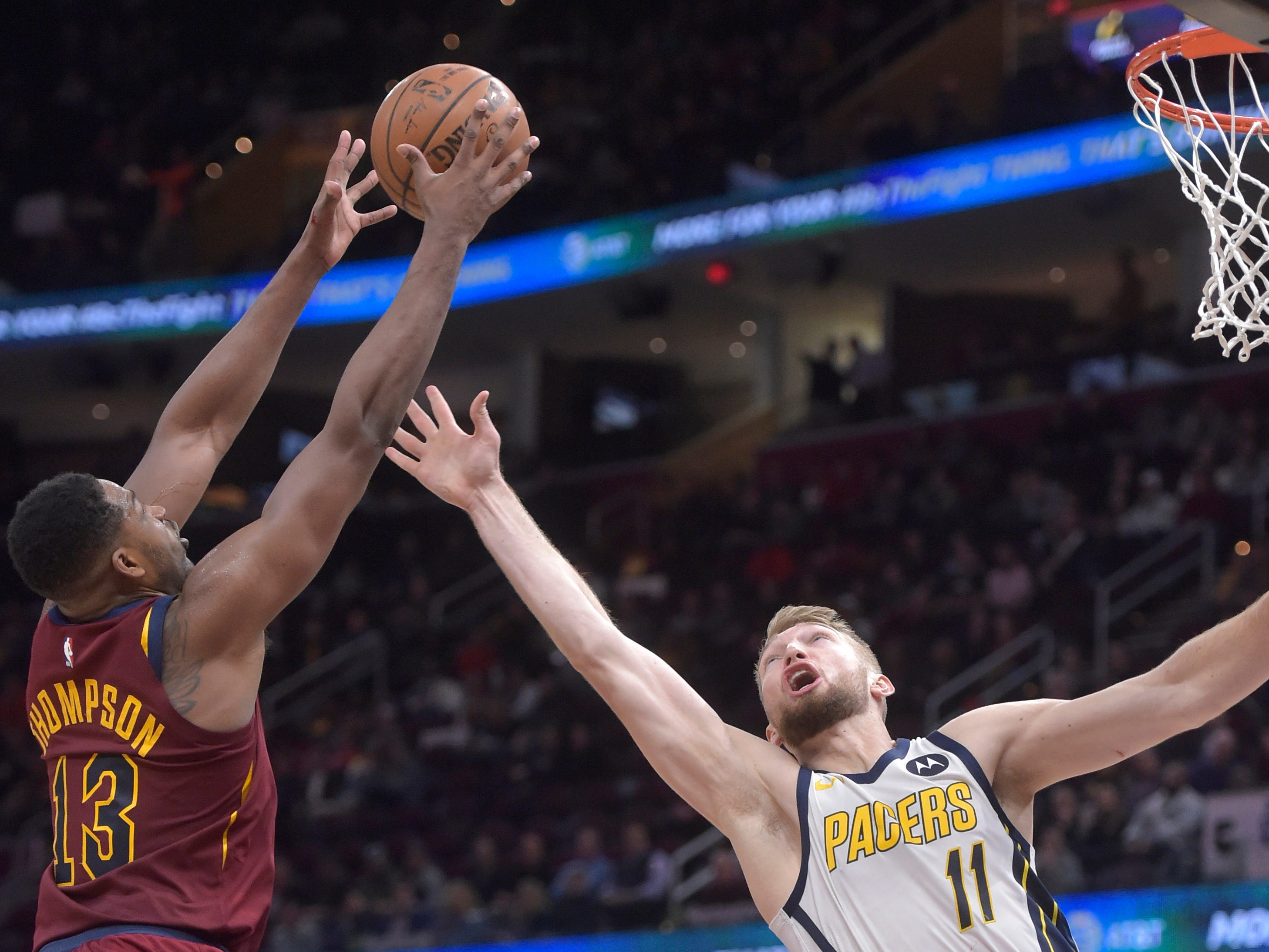 Jan 8, 2019; Cleveland, OH, USA; Cleveland Cavaliers center Tristan Thompson (13) rebounds against Indiana Pacers forward Domantas Sabonis (11) in the second quarter at Quicken Loans Arena. Mandatory Credit: David Richard-USA TODAY Sports
