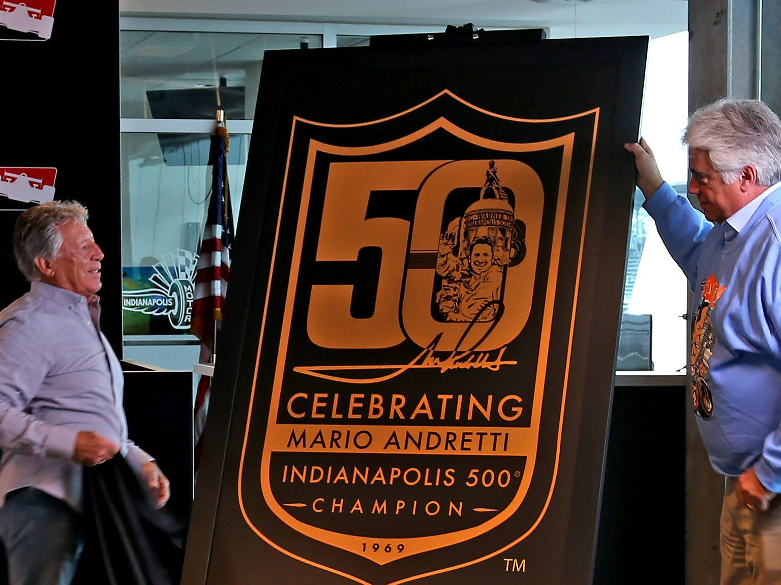 during a press conference on the 50th anniversary of Mario Andretti's winning of the Indy 500, at Indianapolis Motor Speedway, Wednesday, Jan. 9, 2019.