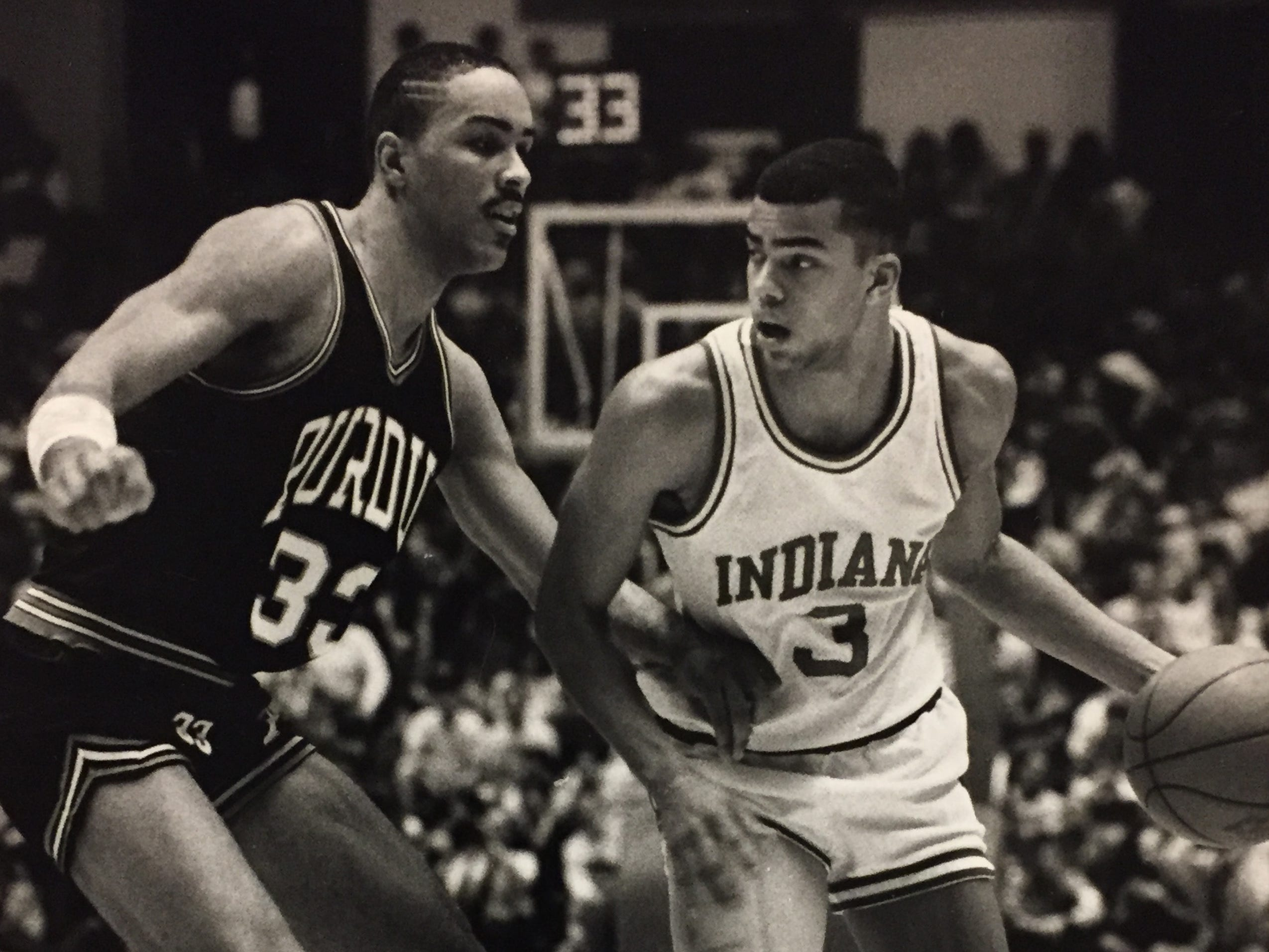Jay Edwards looks for space against Purdue on Jan. 30, 1988.