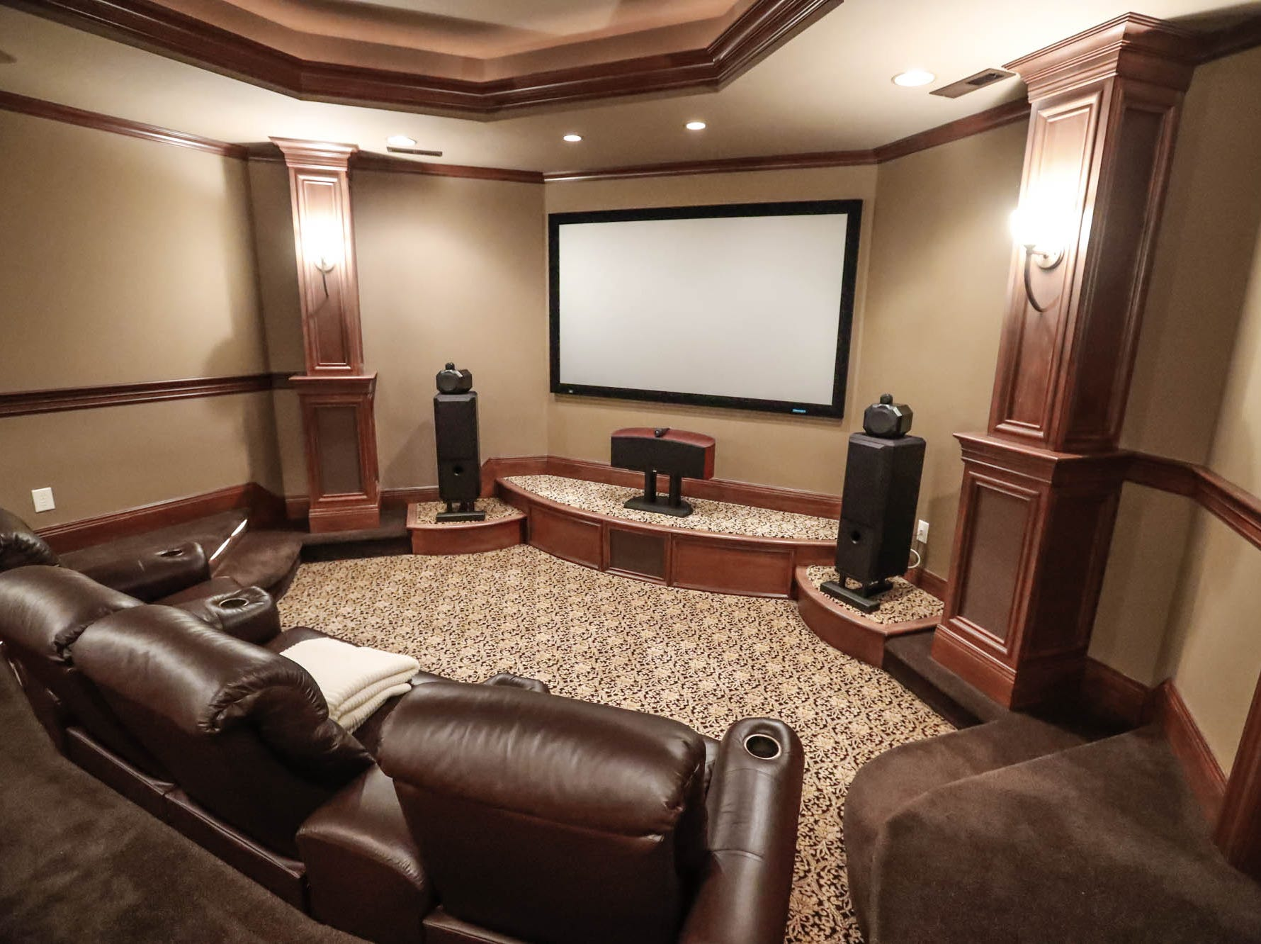The basement of a traditional $2m home up for sale in Bargersville Ind. features a home theatre room on Wednesday, Jan. 9, 2019. The house sits on 8.1 acres.