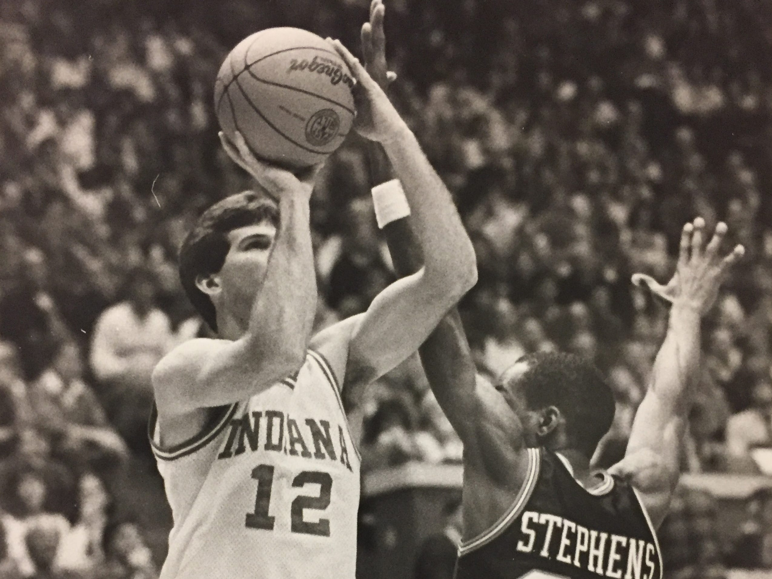 Steve Alford puts up a shot over Purdue's Everette Stephns