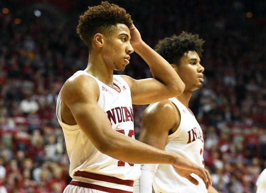 Hoosiers guard Rob Phinisee (10) holds his head after being hit during the game against Central Arkansas at Assembly Hall on, Dec. 19, 2018. He's been out since.