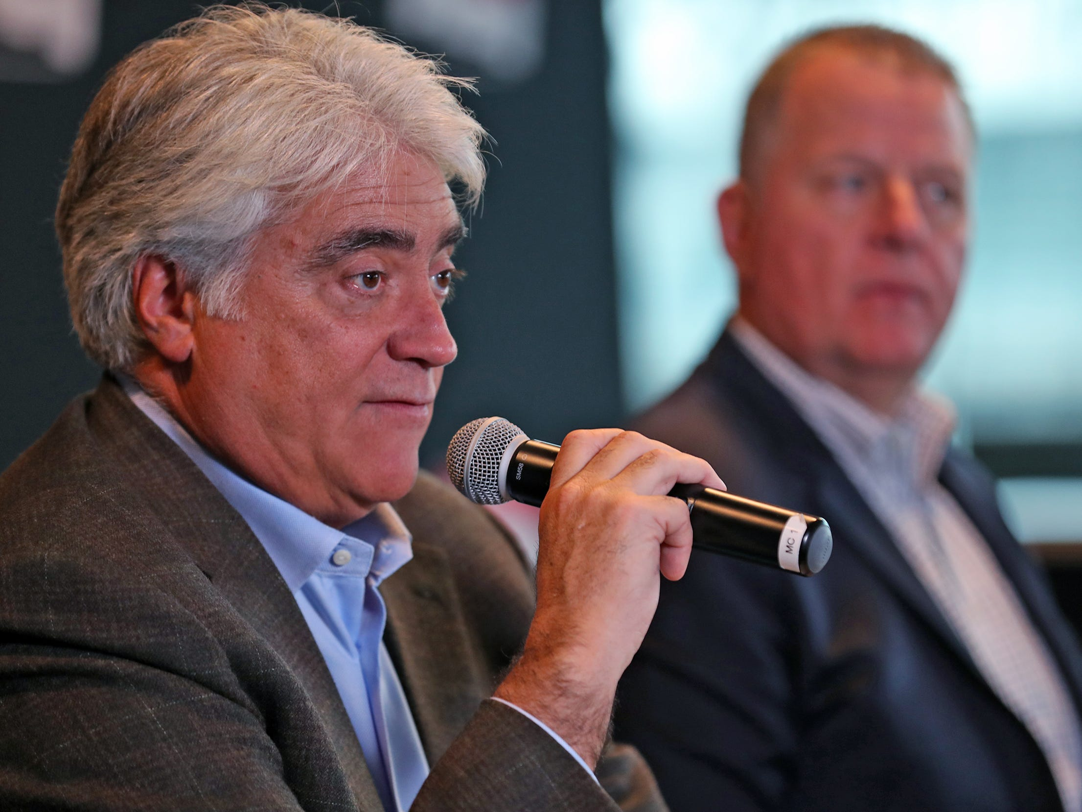 Hulman & Company CEO Mark Miles speaks about the upcoming IndyCar season during a press conference on the IndyCar announcement of their TV schedule, during a press conference at Indianapolis Motor Speedway, Wednesday, Jan. 9, 2019.