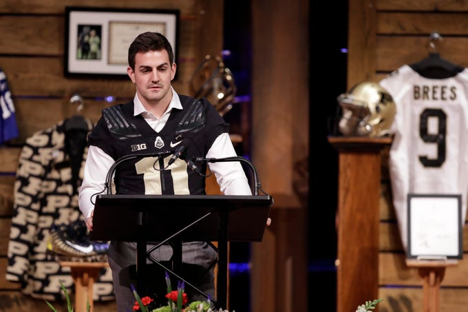 Purdue quarterback David Blough speaks during a funeral for Tyler Trent at College Park Church, Tuesday, Jan. 8, 2019, in Indianapolis. Trent, an avid Purdue fan, died on New Year's Day, following a bout with bone cancer. (AP Photo/Darron Cummings, Pool)
