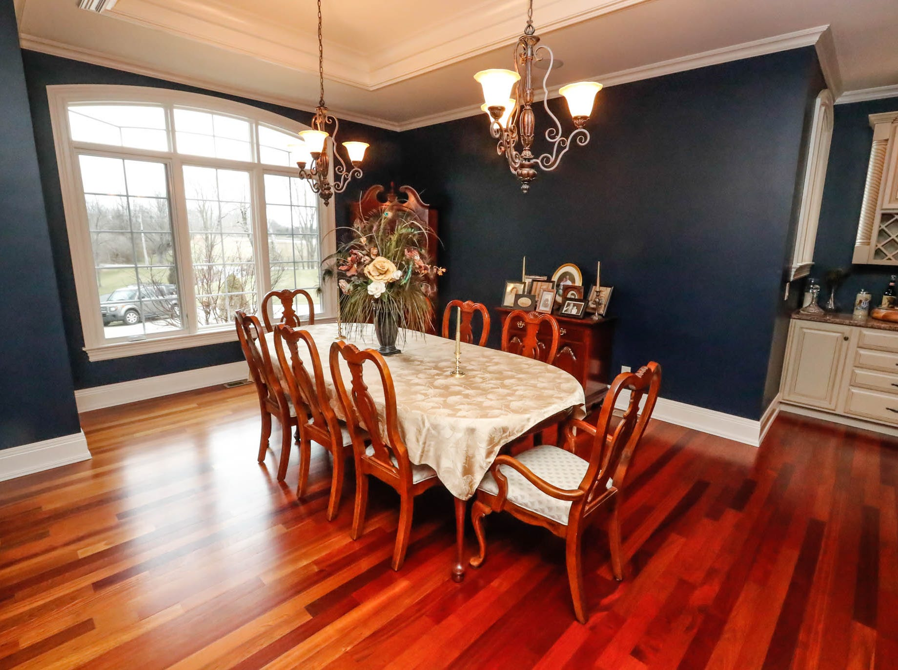 The dining room features an open plan and butlers pantry in a traditional $2m home with elements of French country and Tuscan influence up for sale in Bargersville Ind. on Wednesday, Jan. 9, 2019. The house sits on 8.1 acres.