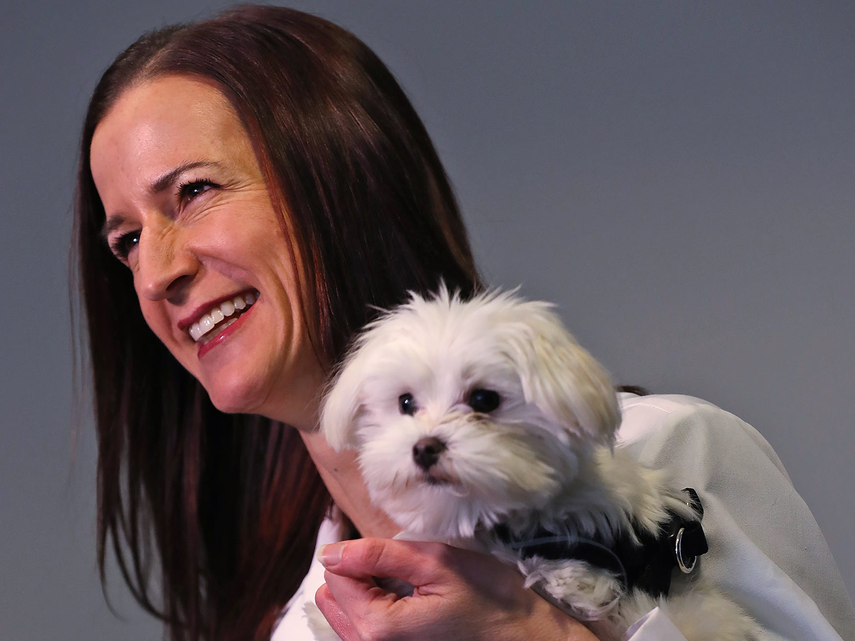 Pistachio, a Maltese-mix puppy, who is the 2019 Puppy Bowl's tiniest player, visits the Indianapolis Motor Speedway, Wednesday, Jan. 9, 2019. Dr. Tara Harris, a child abuse specialist and director of the Center of Hope at Riley Hospital for Children at IU Health, and the founder of Every Dog Counts Rescue, holds Pistachio as she is interviewed.  Pistachio is one of her rescue dogs.  He was born with a congenital defect called a liver shunt which nearly killed him.  She helped the puppy get his life-saving surgery, when he was just two pounds.  After pulling through, he made it into the Super Bowl's dog favorite, the 2019 Puppy Bowl.