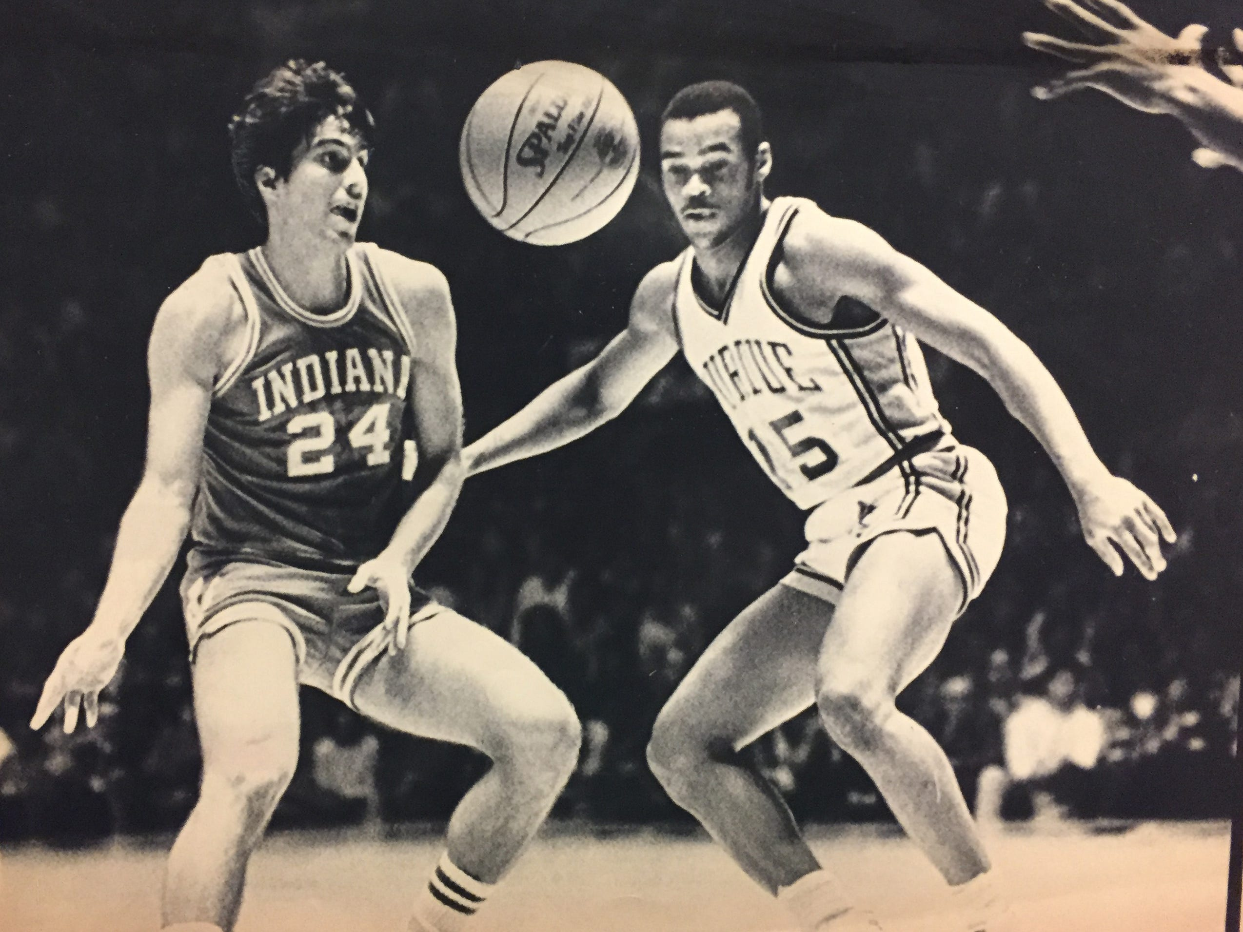 IU's Randdy Wittman releases a pass as Purdue's Jim Bullock defends on Jan. 15, 1983.