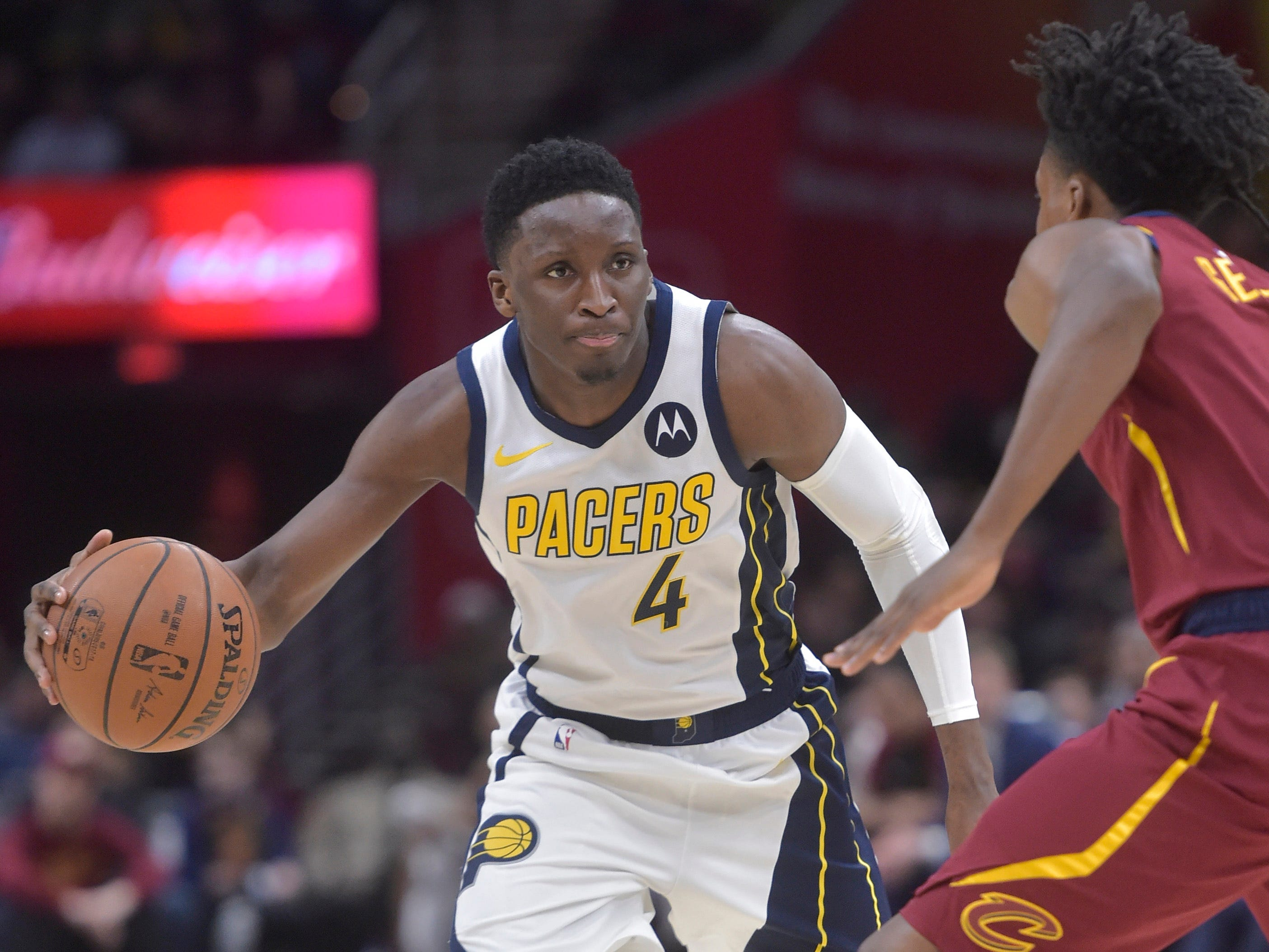 Jan 8, 2019; Cleveland, OH, USA; Indiana Pacers guard Victor Oladipo (4) dribbles against Cleveland Cavaliers guard Collin Sexton (2) in the second quarter at Quicken Loans Arena.