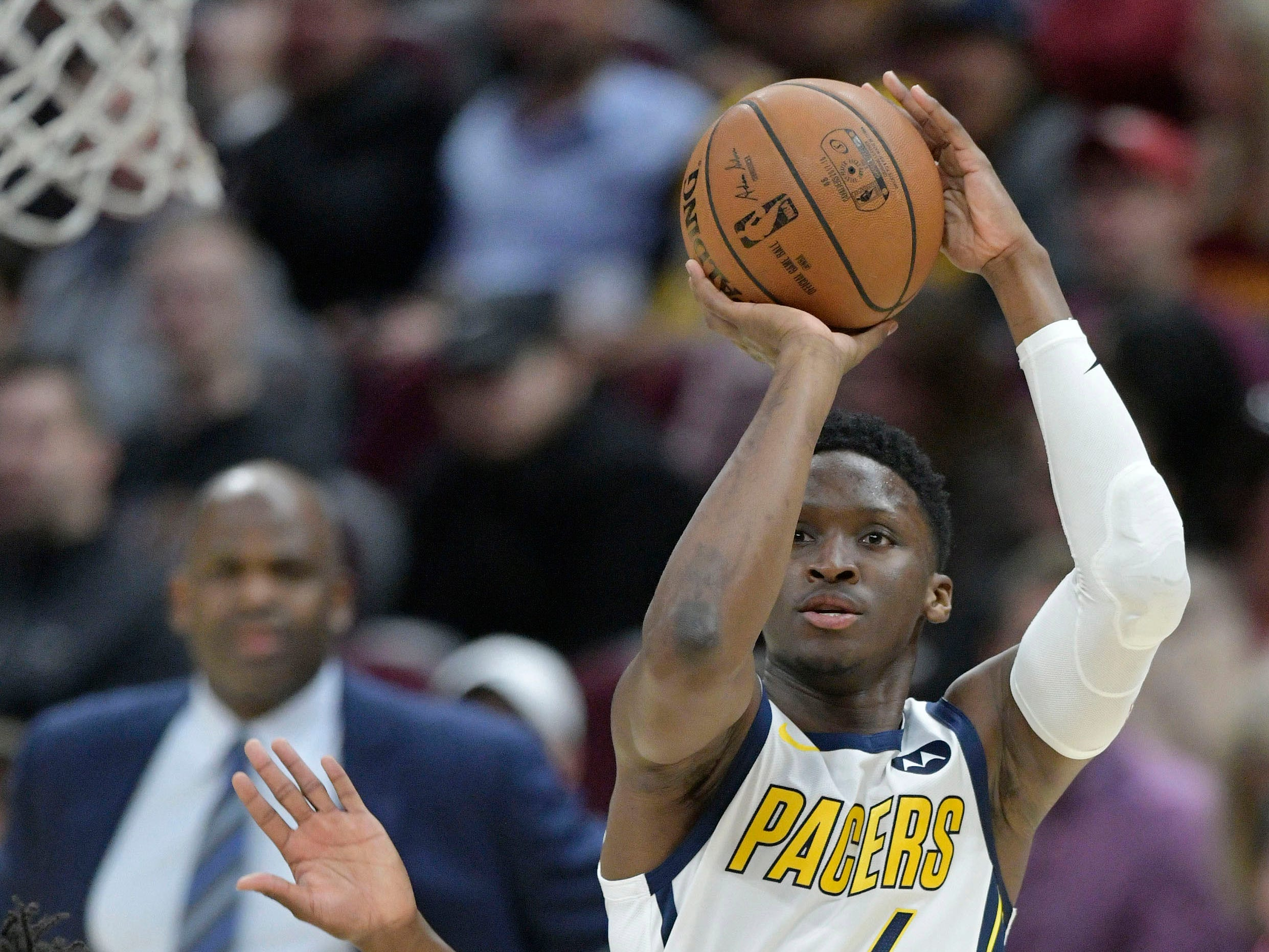 Jan 8, 2019; Cleveland, OH, USA; Indiana Pacers guard Victor Oladipo (4) shoots against the Cleveland Cavaliers in the first quarter at Quicken Loans Arena.