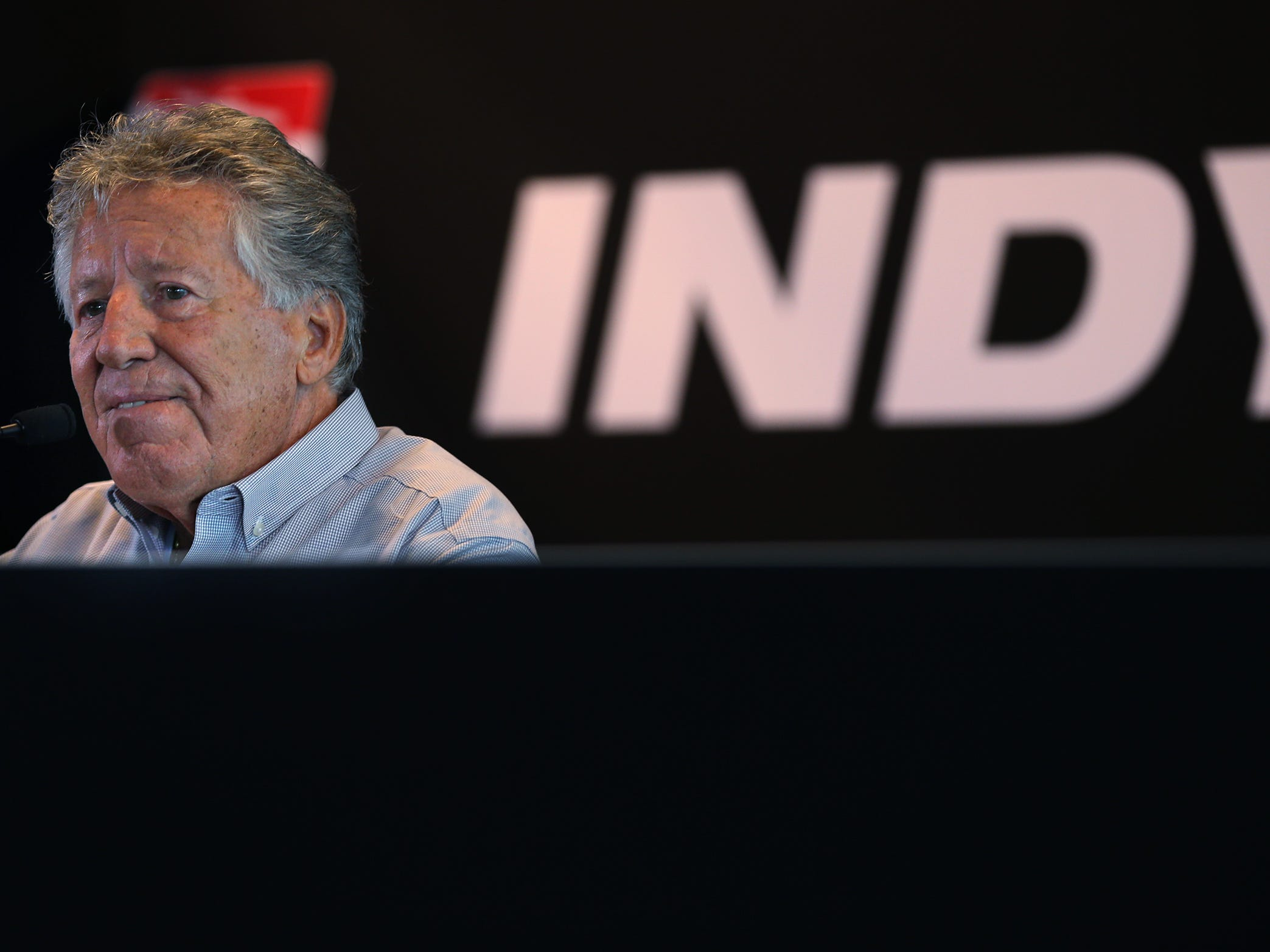 Indy 500 champion takes questions during a press conference on the 50th anniversary of Mario Andretti's winning of the Indy 500, at Indianapolis Motor Speedway, Wednesday, Jan. 9, 2019.