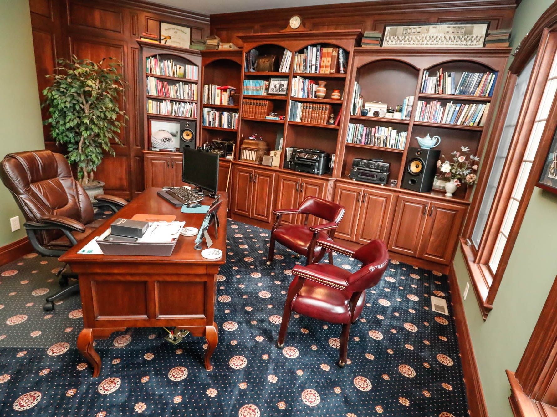 An office or den features plenty of shelving and a view in a $2 million Bargersville Ind. home up for sale on Wednesday, Jan. 9, 2019. The home sits on 8.1 acres.