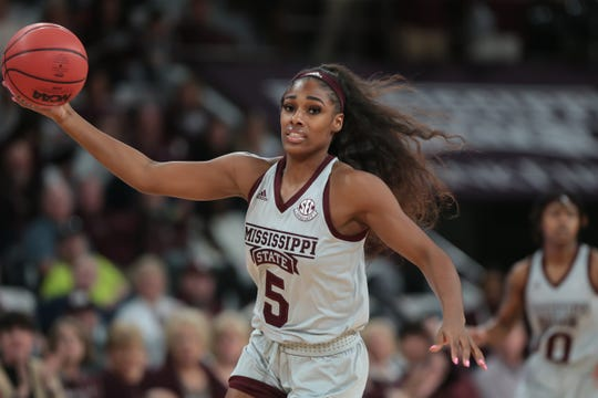 Mississippi State's Anriel Howard (5) gets a rebound in the first quarter. Mississippi State and Kentucky played in an SEC women's basketball game on Sunday, January 6, 2019. Photo by Keith Warren