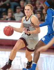 Mississippi State's Chloe Bibby (55) drives to the basket in the second half. Mississippi State and Kentucky played in an SEC women's basketball game on Sunday, January 6, 2019. Photo by Keith Warren