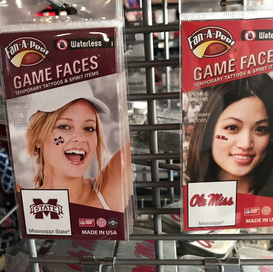 Game Faces, used to show team spirit, are available at The College Corner in Flowood.