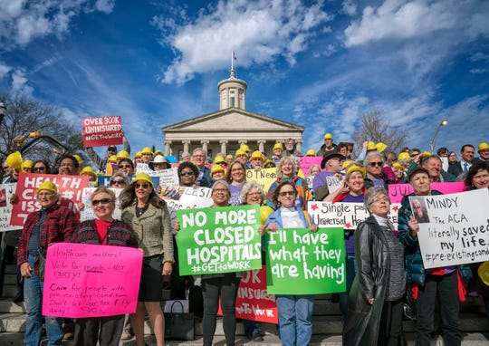 Voters rally in support of healthcare outside the Tennessee state capitol on Monday January 7, 2018. Nashville, Tenn.