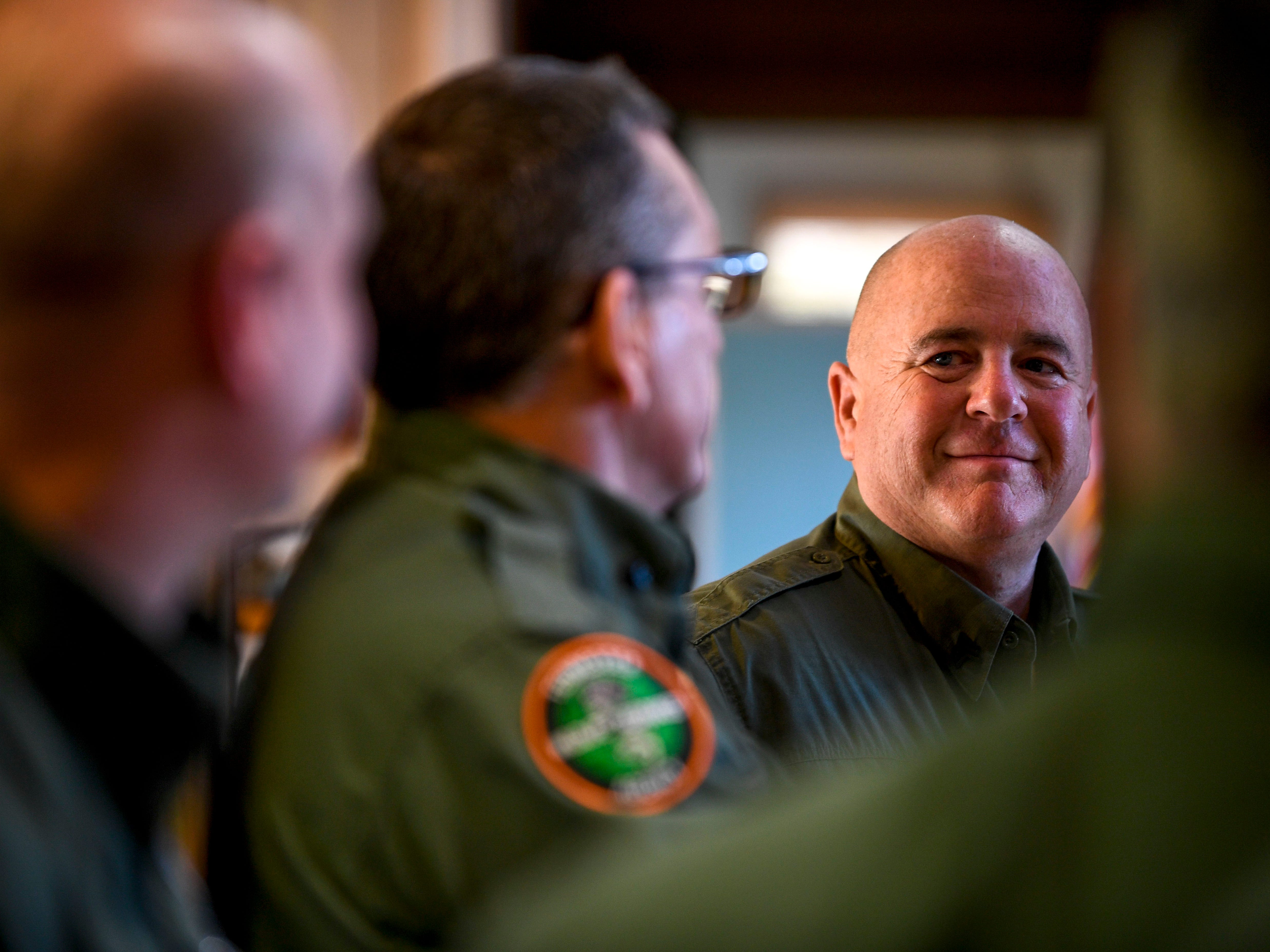 Sgt Keith Mitchell of Chester County chats with other Wildlife Resource Officers on National Law Enforcement Day at the Tennessee Wildlife Resource Agency Region One offices in Jackson, Tenn., on Wednesday, Jan. 9, 2019.