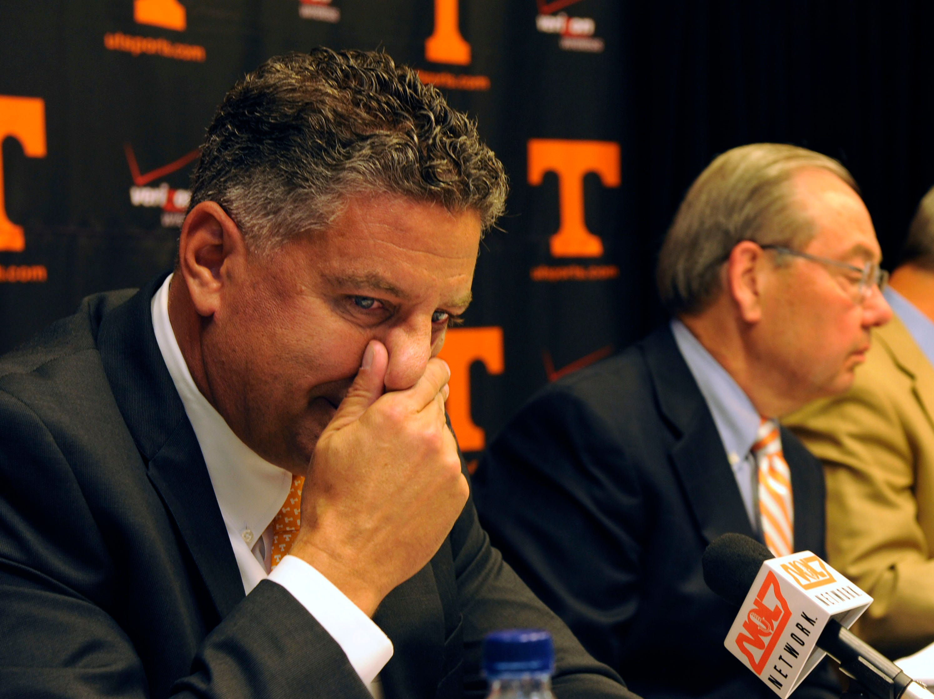 University of Tennessee Head MenÕs Basketball Coach Bruce Pearl expresses remorse for giving misleading information to the NCAA during an investigation in June of this year. The press conference Friday, Sep. 10, 2010 revealed that Pearl's compensation will be reduced by $1.5 million over the next five years. At right is Knoxville Chancellor Dr. Jimmy Cheek.