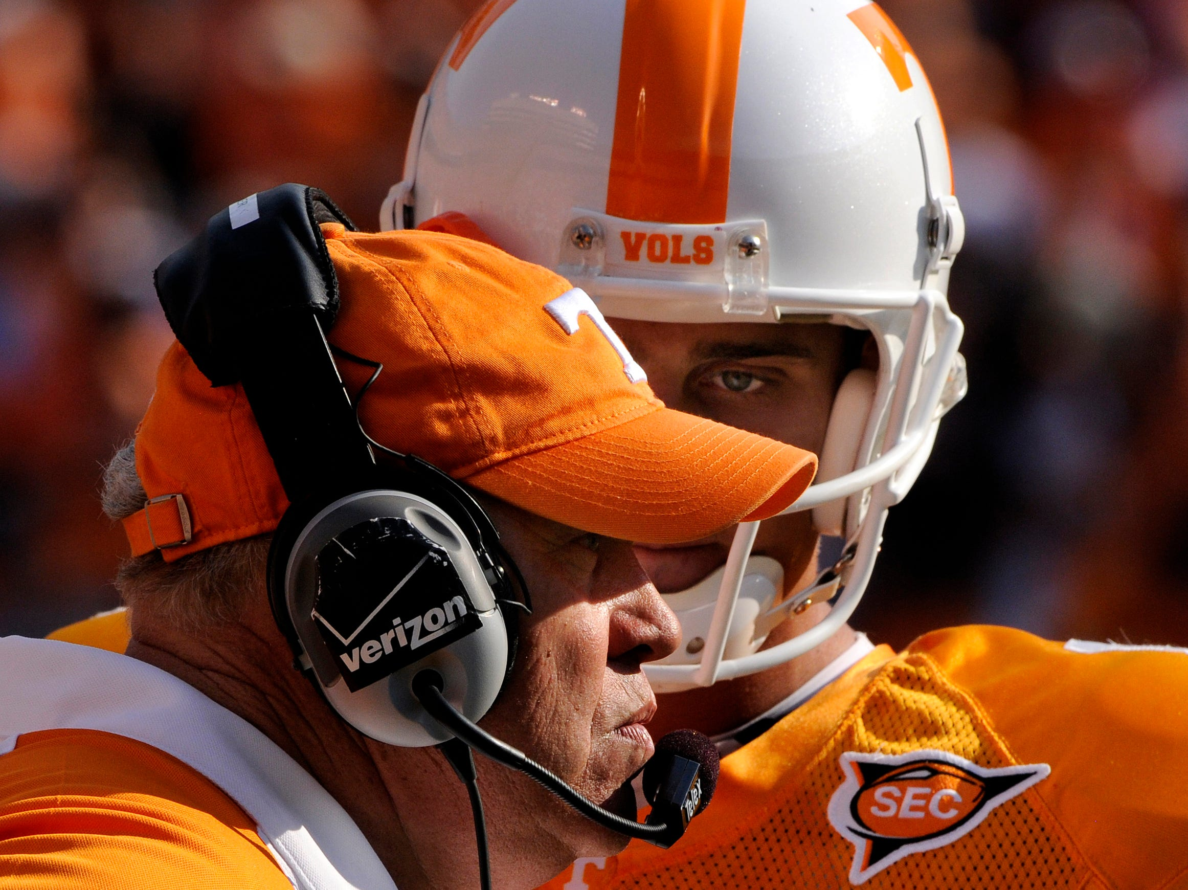 Tennessee quarterback Jonathan Crompton (8) waits for a reaction from head coach Phillip Fulmer on the sideline. Tennessee lost 30-6 to Florida in Neyland Stadium on Saturday, September 20, 2008.
