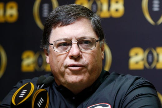 Jan 6, 2018; Atlanta, GA, USA; Georgia Bulldogs offensive coordinator Jim Chaney speaks during media day at Philips Arena.