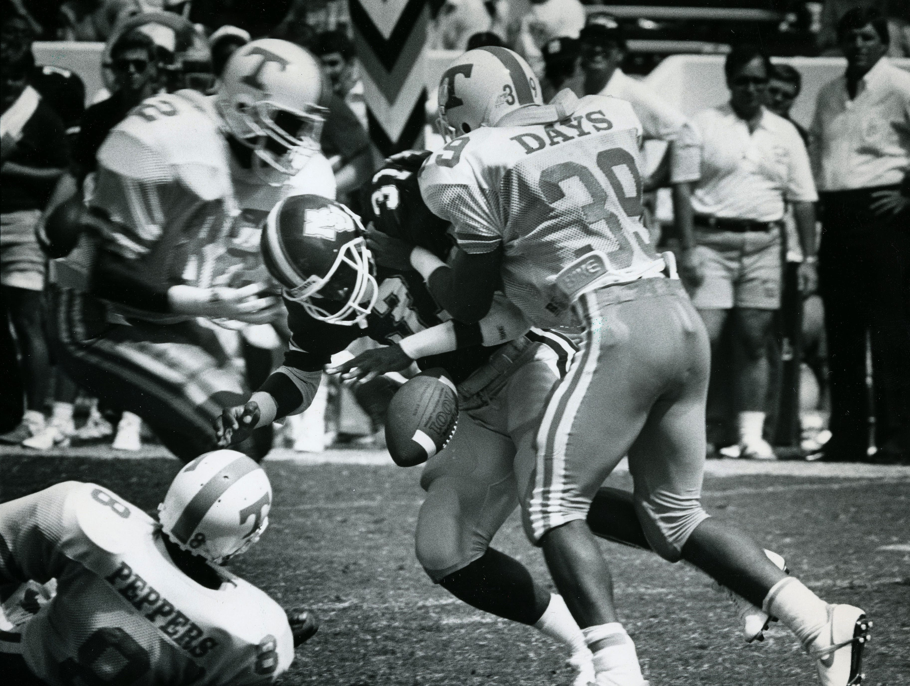 Tennessee Days caused a fumble during the 4th quarter against Mississippi State Saturday, Sept. 13, 1987.