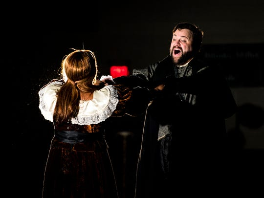 Soprano Brittany Robinson and tenor Brandon Russell perform as Lucia and Edgardo in Donizetti's 1835 opera Lucia di Lammermoor at Farragut Middle School's gym on Wednesday, January 9, 2019. Robinson and Russell performed as part of Knoxville Opera, which brings an abridged version of the opera to East Tennessee schools.
