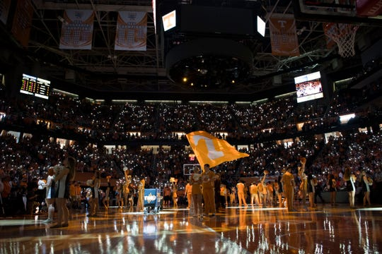 Phones light up before a college basketball game between Tennessee and Georgia at Thompson-Boling Arena Saturday, Jan. 5, 2019.