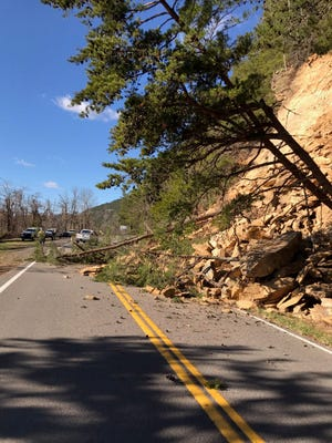 A portion of U.S. Highway 129, also known as Calderwood Highway, in Blount County near Chilhowee Dam is closed because of a rockslide.