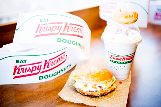 The all-new fruity vanilla crunch ice cream sandwich and strawberry milkshake with crisp pearls on top at Krispy Kreme on Cumberland Ave. in Knoxville, Tennessee on Wednesday, January 9, 2019. The Cumberland Ave. location is the first Krispy Kreme location in the United States to serve ice cream and milkshakes.