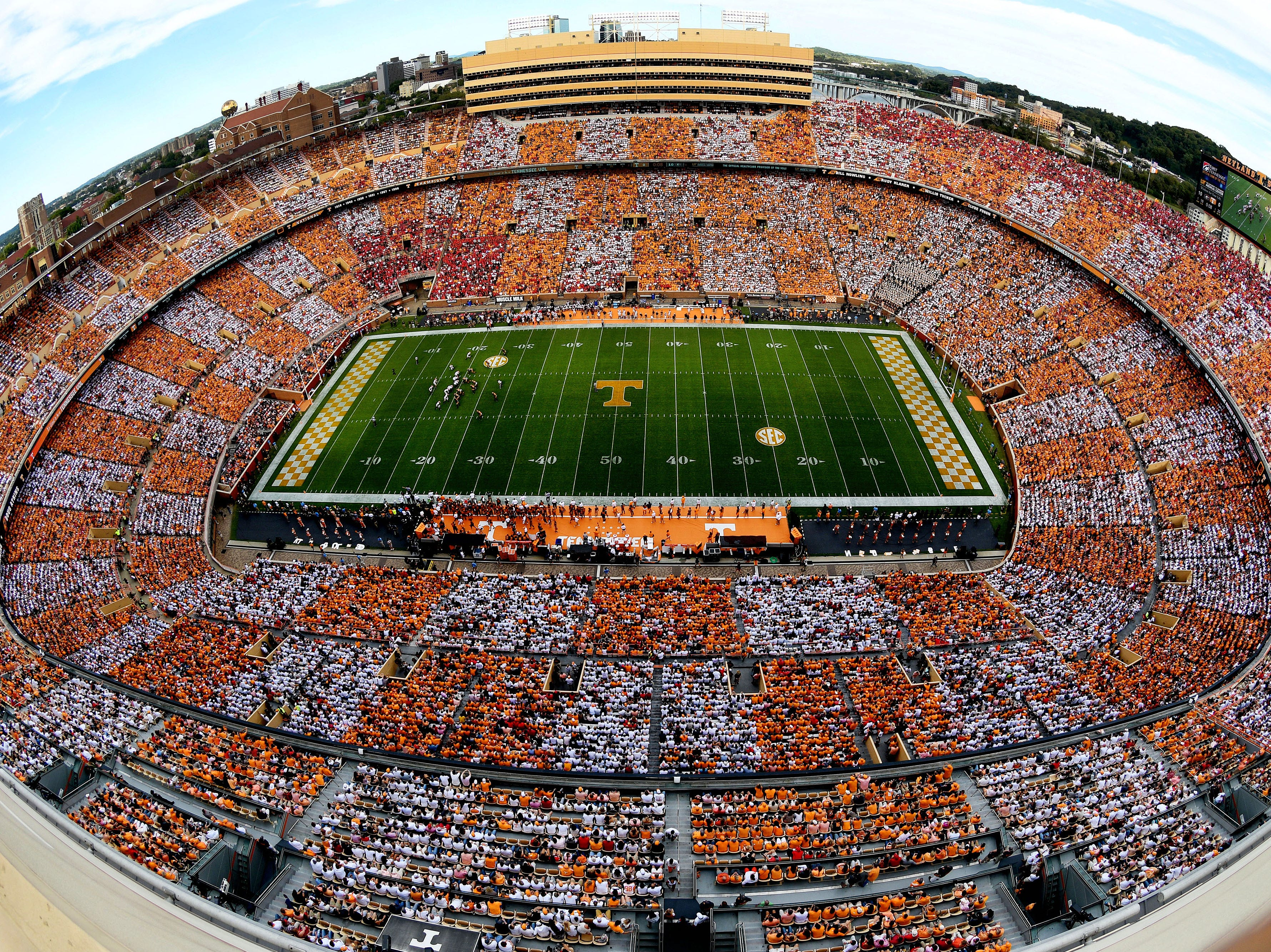 A checkered pattern colors Neyland Stadium during the Tennessee Volunteers vs. Georgia Bulldogs game at Neyland Stadium in Knoxville, Tennessee on Saturday, September 30, 2017.