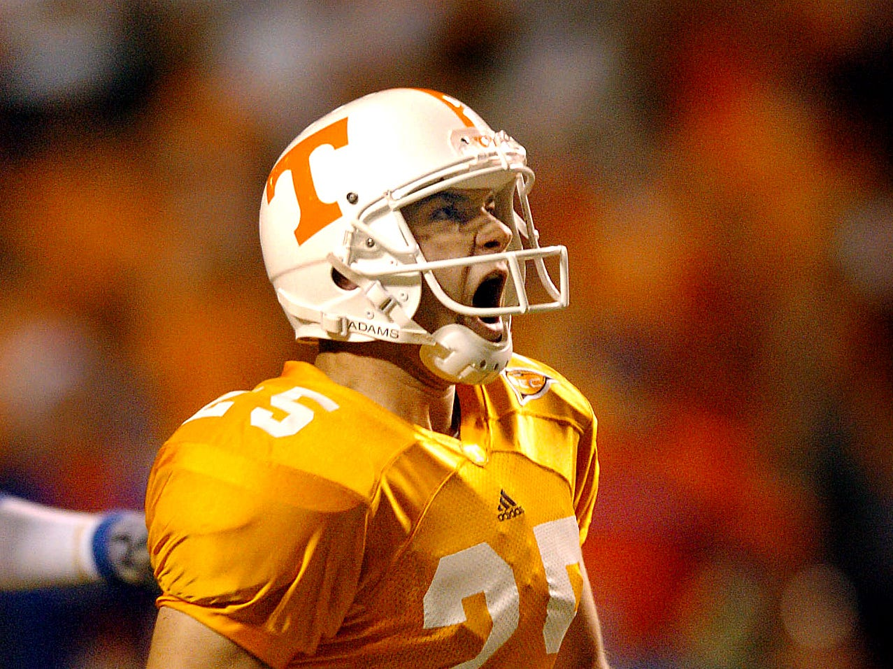 Tennessee's (25) James Wilhoit reacts the instant he sees that his 50-yard field goal kick was good for the winning point Saturday night to beat Florida 30-28.  9/18/2004