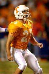 Tennessee's James Wilhoit reacts the instant he sees that his 50-yard field goal kick was good to beat Florida 30-28 on Sept. 18, 2004.