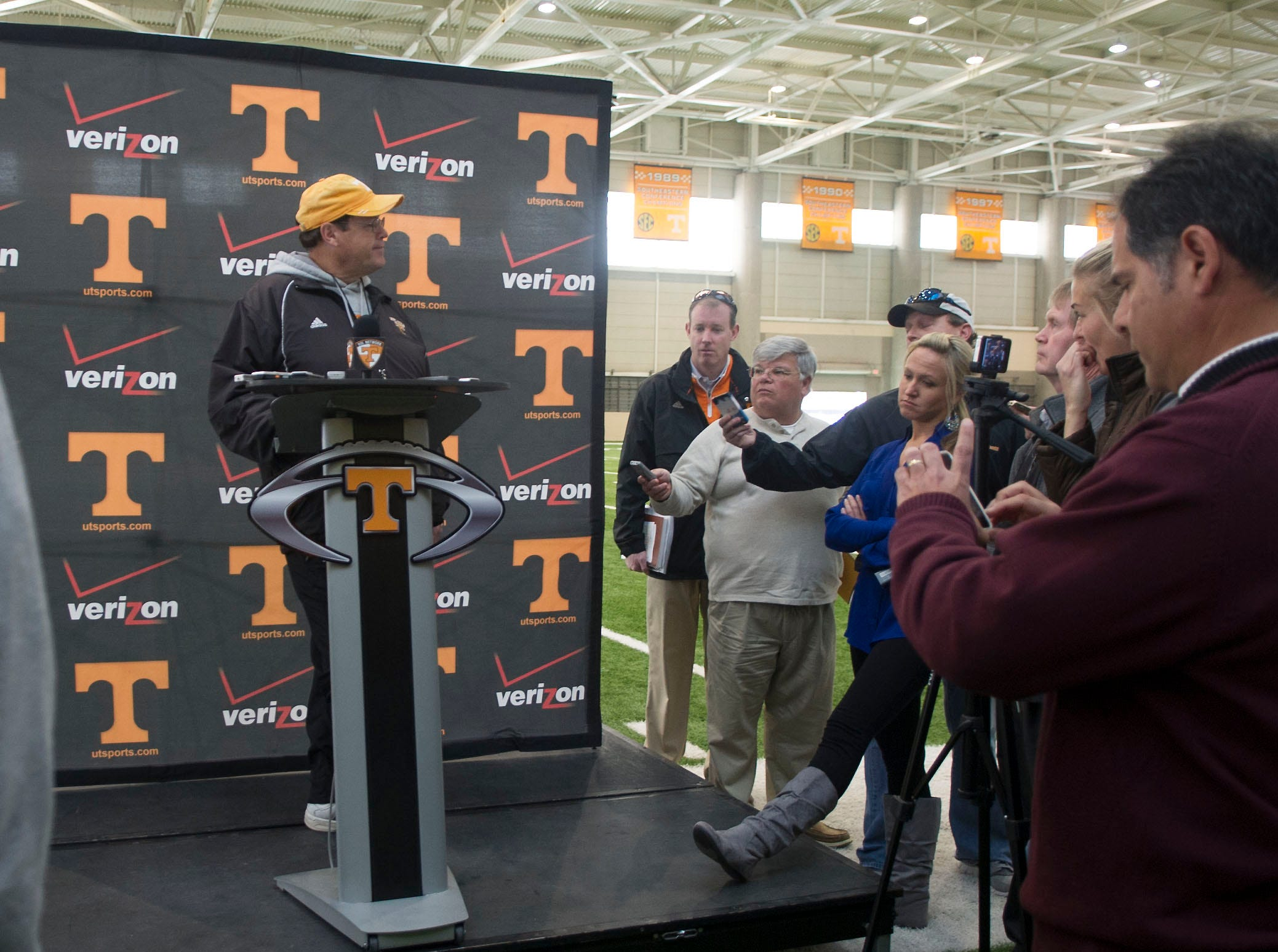 Interim head coach/offensive coordinator Jim Chaney talks with the Media after practice on Monday November 19, 2012 at the indoor practice field in the Neyland-Thompson Sports Complex.