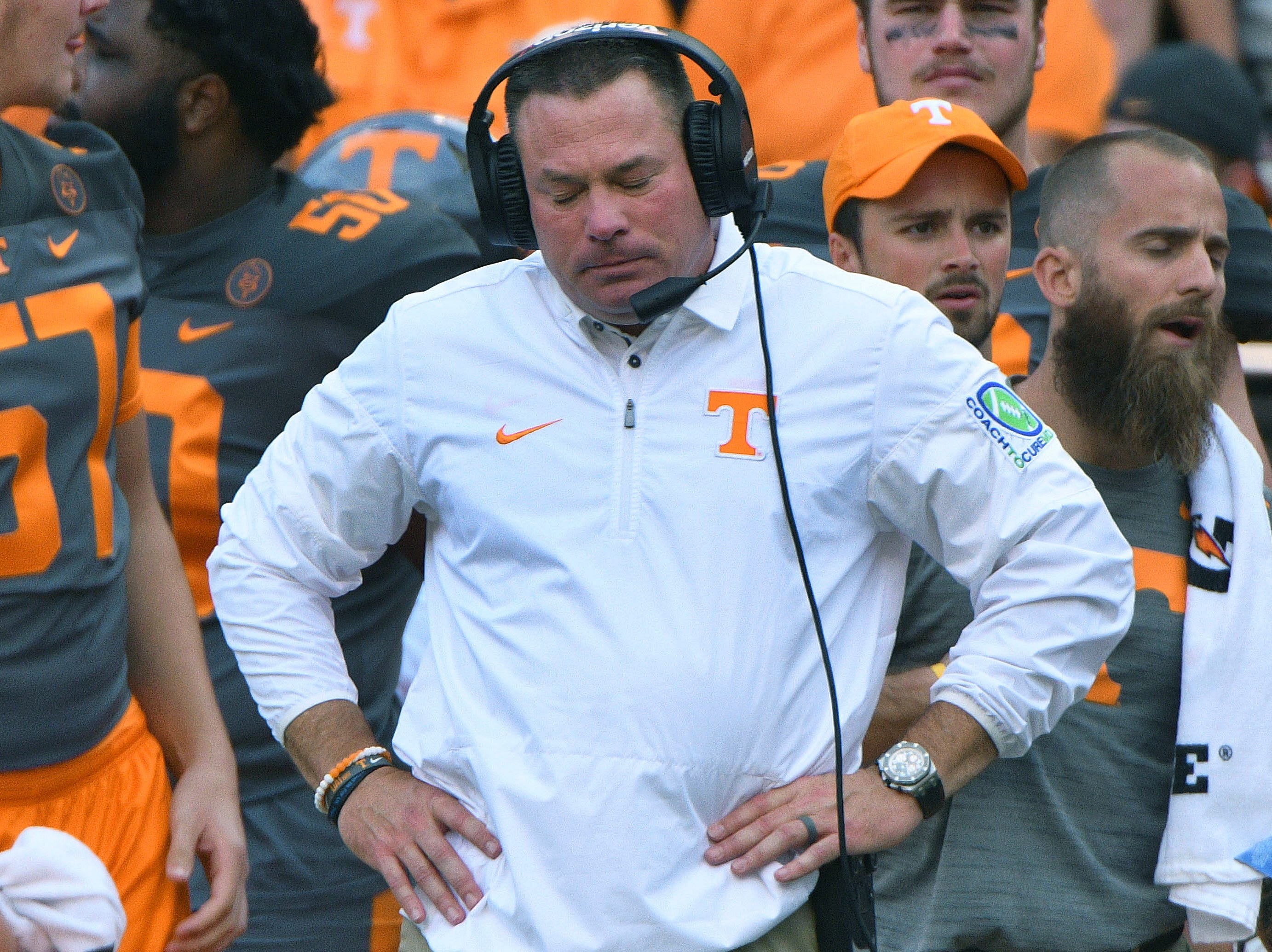 Tennessee Head Coach Butch Jones reacts during the game during the Tennessee Volunteers vs. Georgia Bulldogs game at Neyland Stadium in Knoxville, Tennessee on Saturday, September 30, 2017.