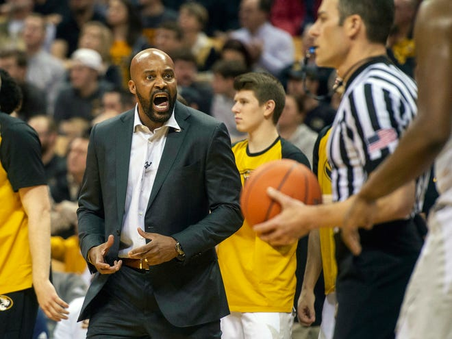 Missouri coach Cuonzo Martin argues a call during the first half of Tuesday's game against Tennessee.