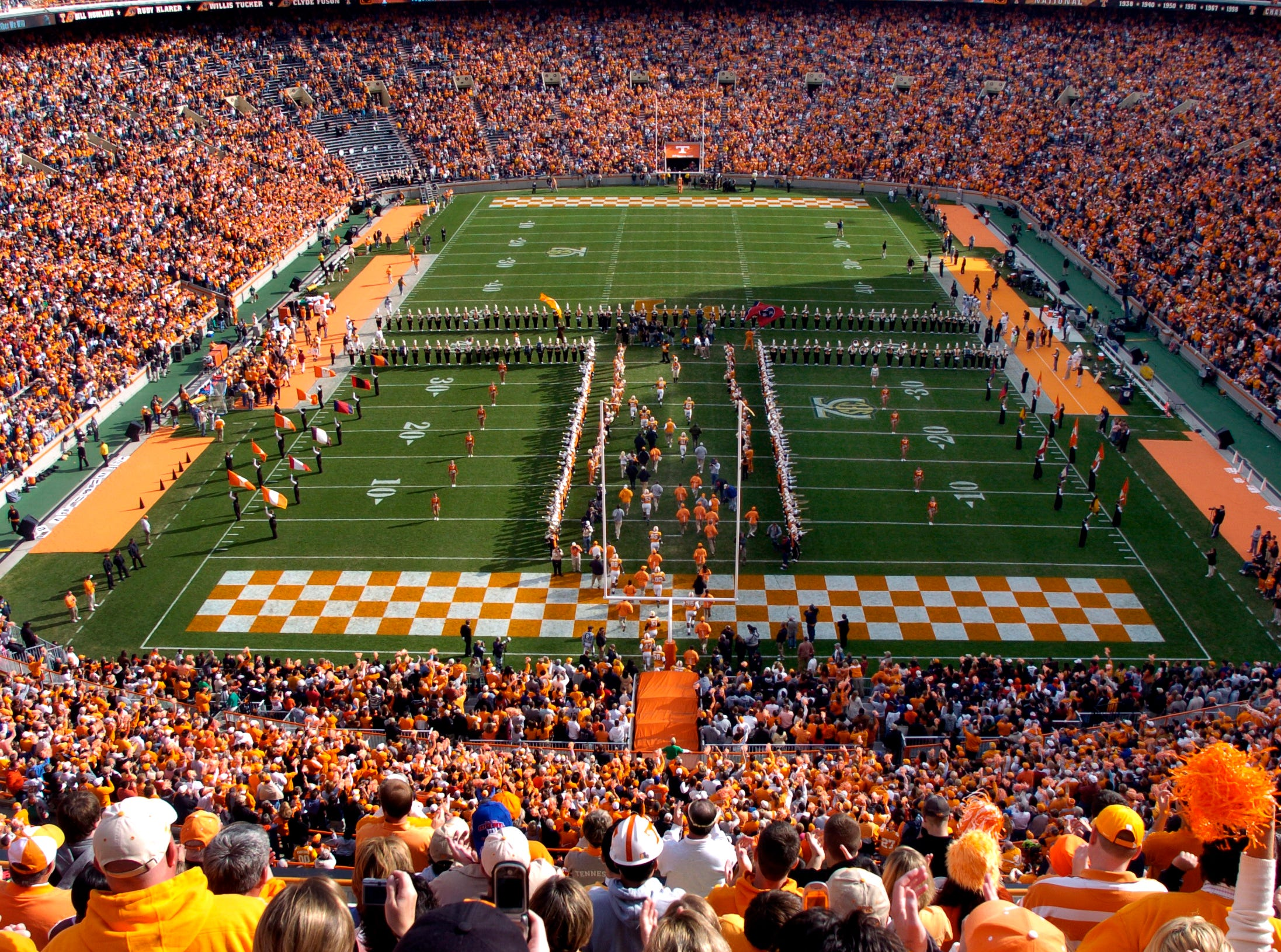 "Senior Day at Neyland Stadium and the final home game for 23 University of Tennessee senior football players 2007. Following the pre-game senior ceremony the real of the team runs through the ""T"" formed by the Pride of the Southland Band."
