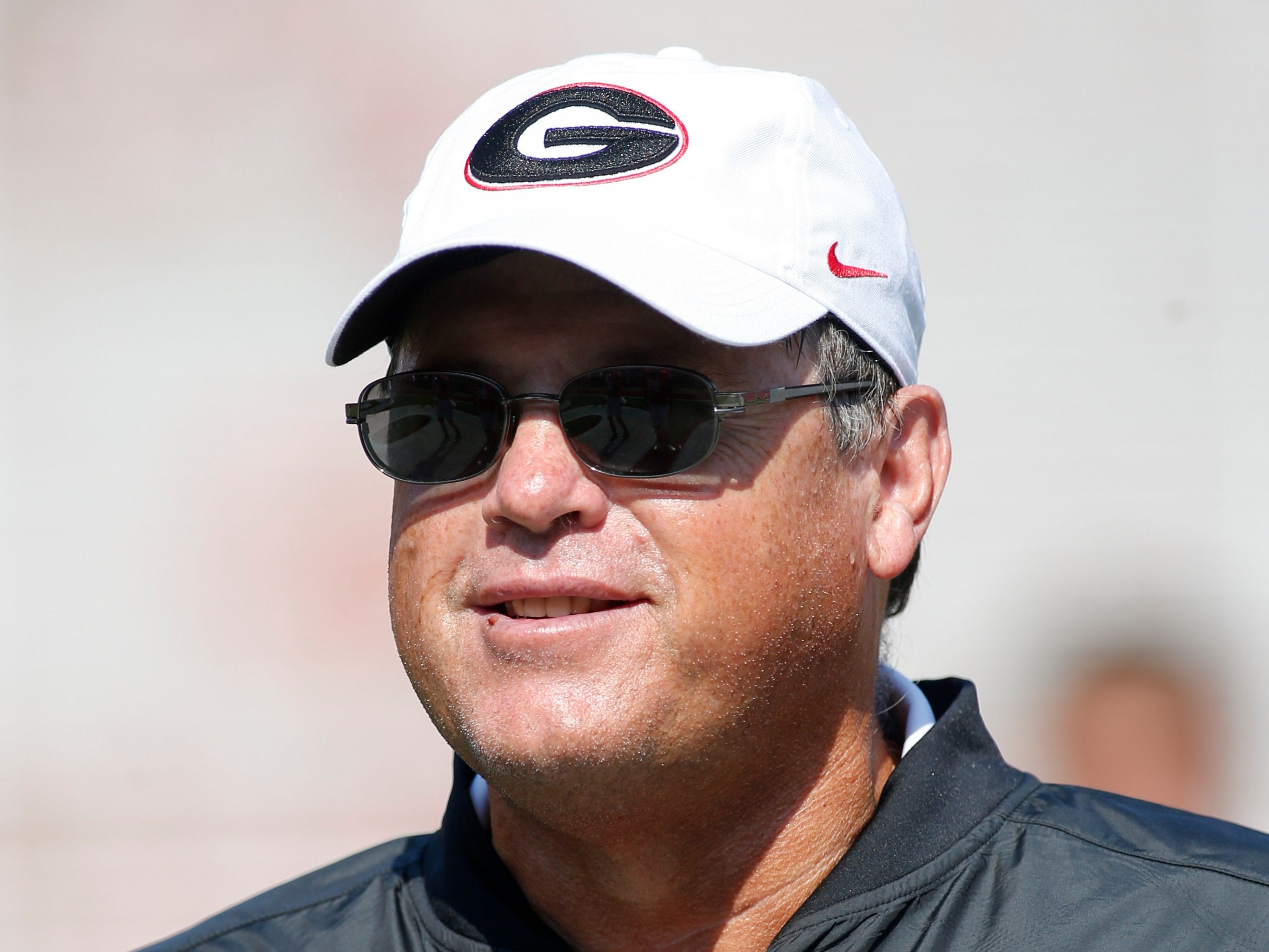 Georgia offensive coordinator Jim Chaney before an NCAA college football game against Nicholls, Saturday, Sept. 10, 2016, in Athens, Ga. Georgia won 26-24.