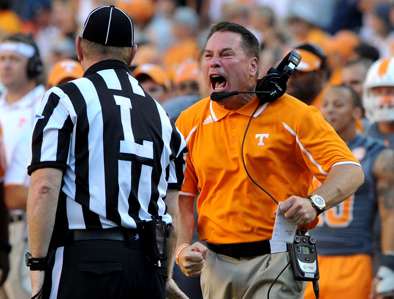 Tennessee head coach Butch Jones yells at a linesman during the second half against Georgia Saturday, Oct. 5, 2013 in Neyland Stadium in Knoxville.  Jones was called for a personal foul.  (MICHAEL PATRICK/NEWS SENTINEL)
