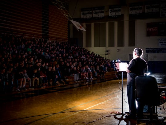 Knoxville OperaÕs Executive and Artistic Director Brian Salesky, right, speaks with Farragut Middle School students before the Knoxville Opera performed an abridged version of DonizettiÕs 1835 opera Lucia di Lammermoor at Farragut Middle School's gym on Wednesday, January 9, 2019.