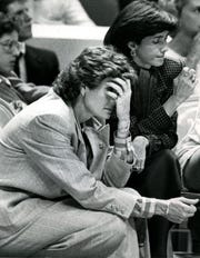 Tennessee Coach Pat Summitt left, and assistant Mickie DeMoss can hardly watch as the Lady Vols run into the hot-shooting Lady Longhorns and fail 97-78 in Thompson-Boling Arena Dec. 9, 1987.