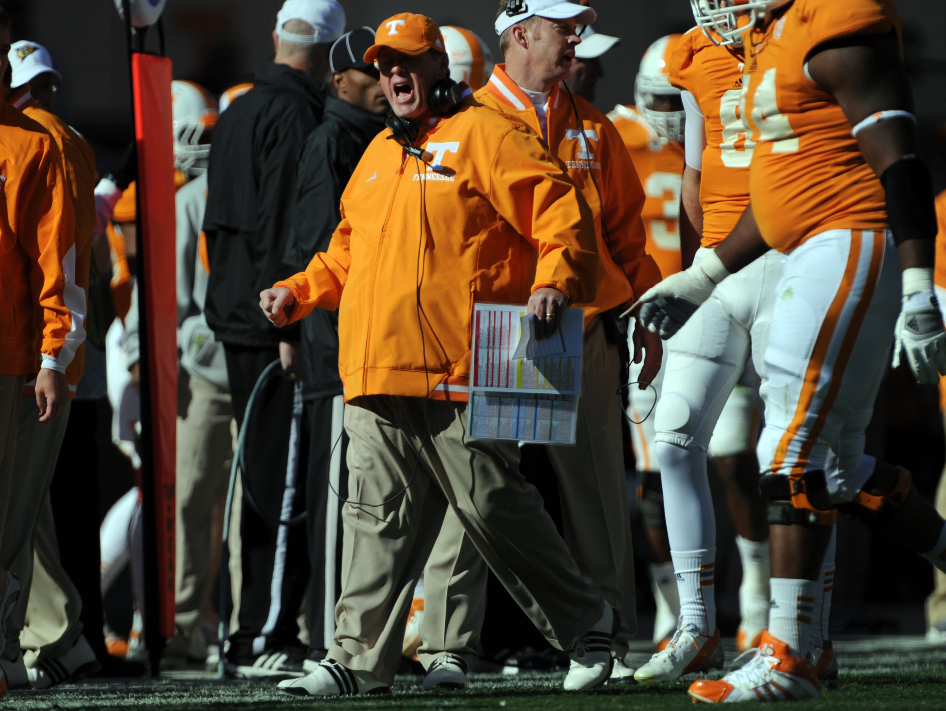 Tennessee interim head coach Jim Chaney responds to a play by the Volunteers during the game against the Kentucky Wildcats at Neyland Stadium Saturday, Nov. 24, 2012.