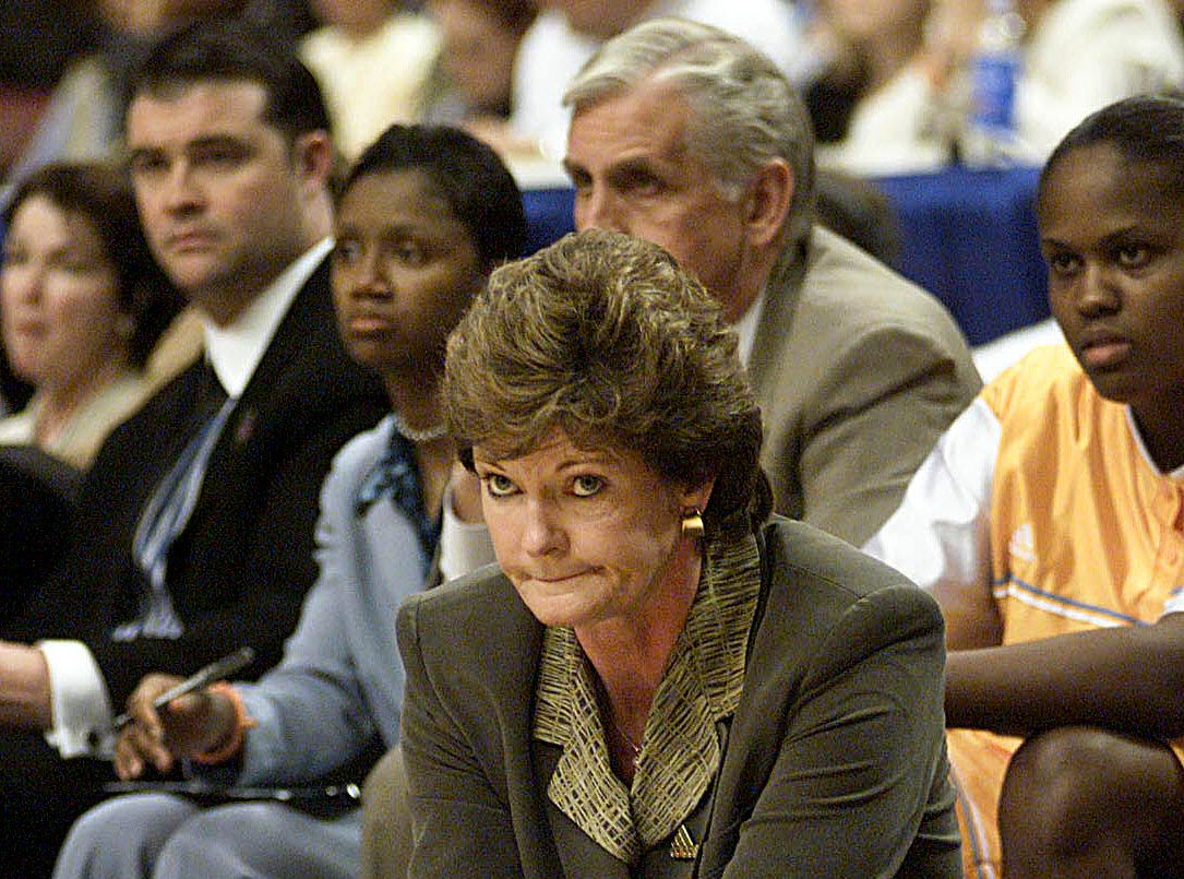 Tennessee coach Pat Summitt watches as the Lady Vols battle Connecticut during the Final Four championship game Sunday, April 2, 2000, in Philadelphia. Connecticut claimed its second NCCA title by defeating Tennessee 71-52.