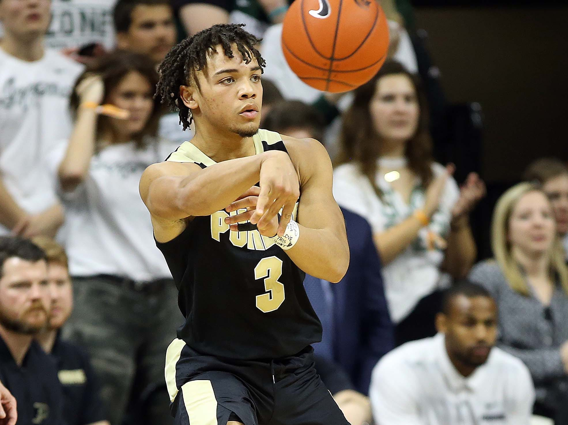 Jan 8, 2019; East Lansing, MI, USA; Purdue Boilermakers guard Carsen Edwards (3) passes the ball during the second half of a game against the Michigan State Spartans at the Breslin Center. Mandatory Credit: Mike Carter-USA TODAY Sports