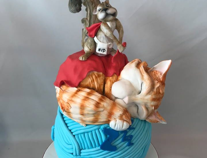 "A cat and squirrel cake created by bakery owner Makenzie Kus. Kus will be featured on the Food Network show ""Winner Cake All"" on Jan. 21 at 10 p.m."