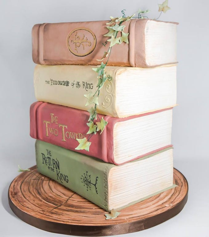 "A stack of books cake created by bakery owner Makenzie Kus. Kus will be featured on the Food Network show ""Winner Cake All"" on Jan. 21 at 10 p.m."