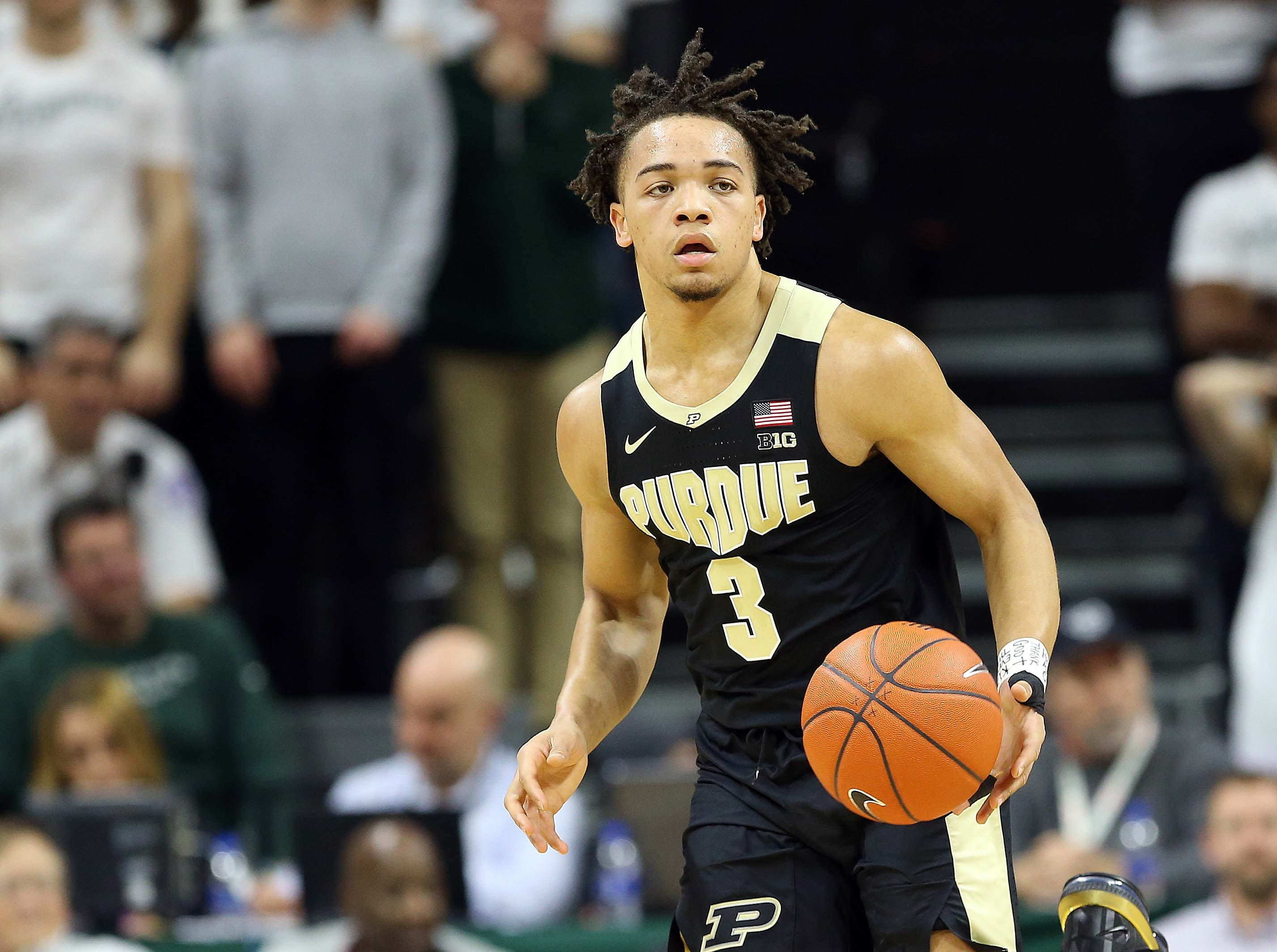 Jan 8, 2019; East Lansing, MI, USA; Purdue Boilermakers guard Carsen Edwards (3) brings the ball up court during the first half of a game against the Michigan State Spartans at the Breslin Center. Mandatory Credit: Mike Carter-USA TODAY Sports
