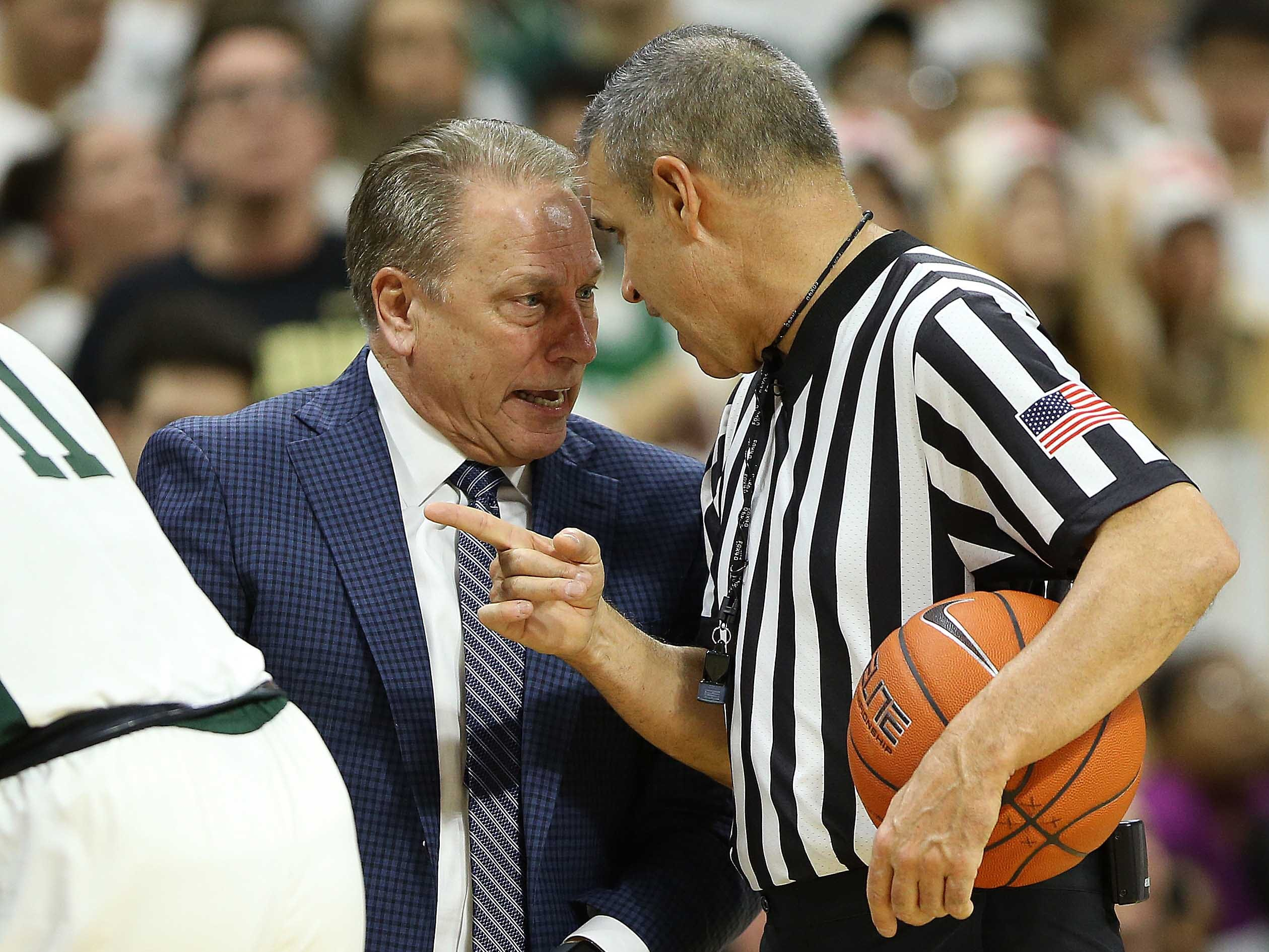 Jan 8, 2019; East Lansing, MI, USA; Official Rob Rilley and Michigan State Spartans head coach Tom Izzo argue a call  during the second half of a game against the Purdue Boilermakers at the Breslin Center. Mandatory Credit: Mike Carter-USA TODAY Sports